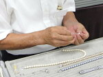 パール(真珠)・水晶・琥珀ネックレス糸替え<二連ネックレス修理>