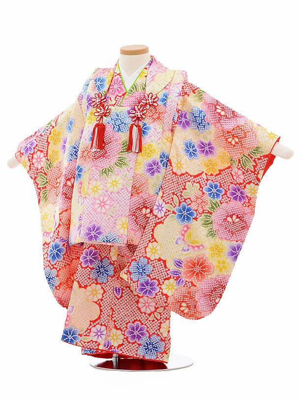 レンタル 七五三 着物 3歳 被布 セット 正絹 3407 ピンク×赤地 雲取り 花 新品足袋 プレゼント 往復送料無料
