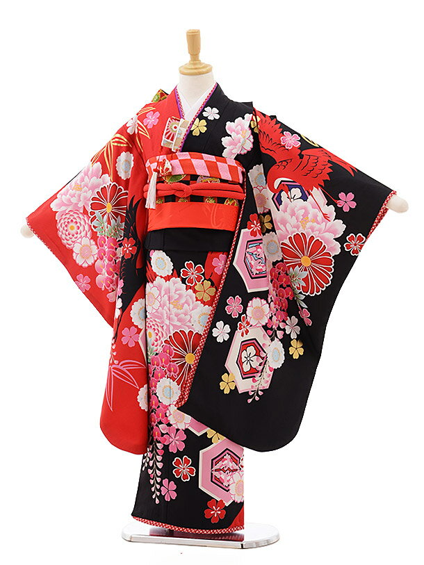753 七五三 着物 7歳 フルセット 女の子 レンタル 7638 JAPAN STYLE 黒赤 ぼたん 四つ身 子供 お祝い着 正月 7歳 7才 きものレンタル 新品足袋プレゼント 往復送料無料【レンタル】