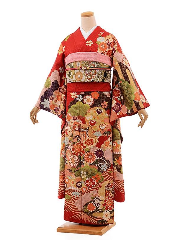 【レンタル】振袖 レンタル 664 振袖レンタル 赤 fy16REN07