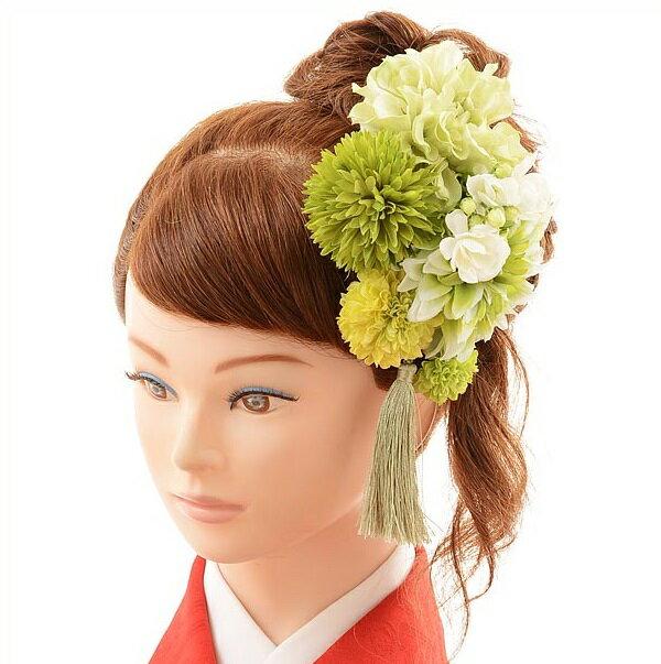 〔振袖 髪飾り 花〕〔レンタル 髪飾り〕〔コサージュ〕〔髪飾り〕〔振袖〕〔成人式〕髪飾りレンタル1bi0030 緑【往復送料無料】【RCP】fy16REN07(10P03Dec16)