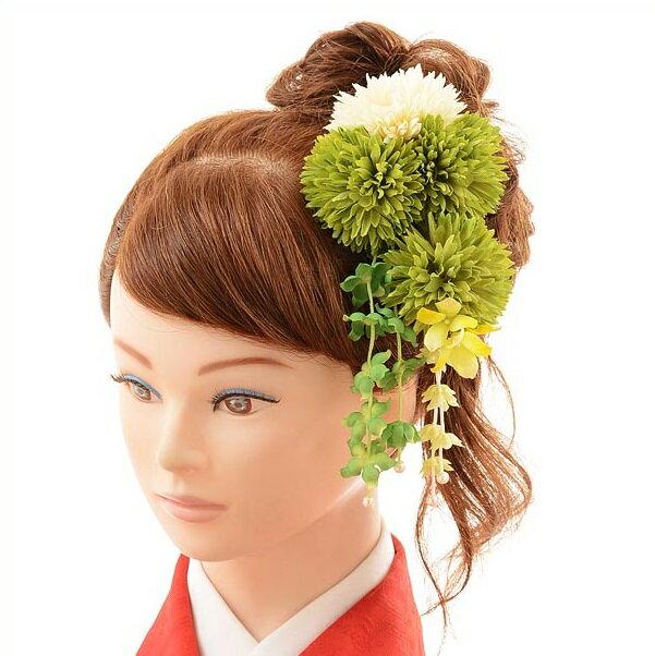 〔振袖 髪飾り 花〕〔レンタル 髪飾り〕〔コサージュ〕〔髪飾り〕〔振袖〕〔成人式〕髪飾りレンタル1bi0032 緑【往復送料無料】【RCP】fy16REN07(10P03Dec16)