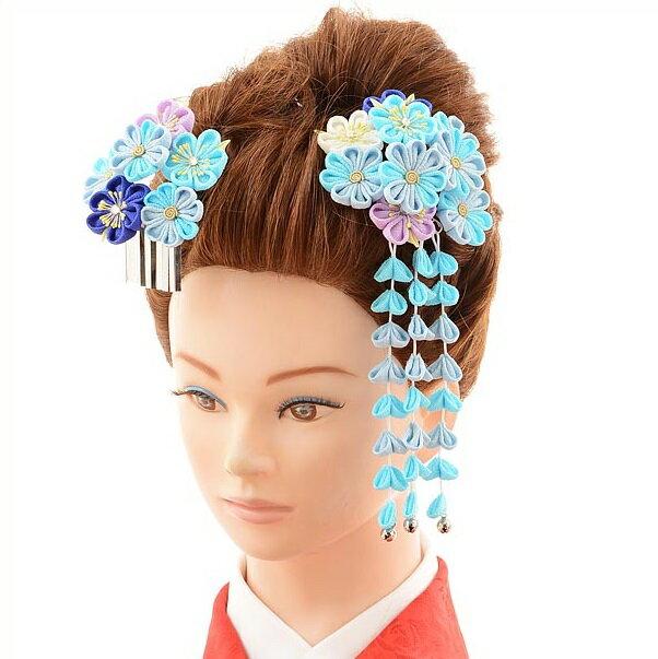 〔振袖 髪飾り 花〕〔レンタル 髪飾り〕〔コサージュ〕〔髪飾り〕〔振袖〕〔成人式〕髪飾りレンタル1bi0039 ブルー【往復送料無料】【RCP】fy16REN07(10P03Dec16)