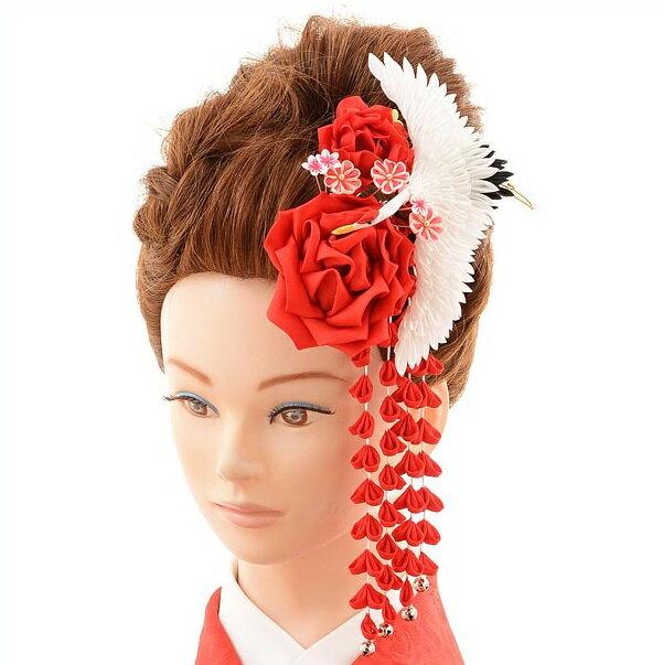 〔振袖 髪飾り 花〕〔レンタル 髪飾り〕〔コサージュ〕〔髪飾り〕〔振袖〕〔成人式〕髪飾りレンタル1bi0043 赤【往復送料無料】【RCP】fy16REN07(10P03Dec16)