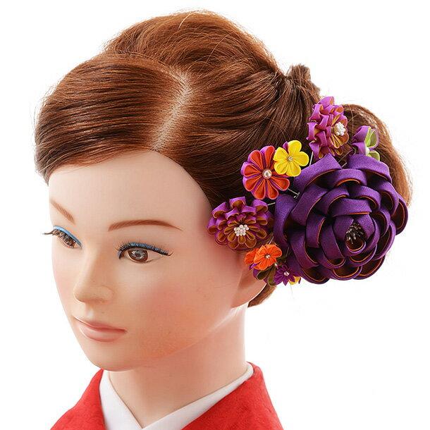 〔振袖 髪飾り 花〕〔レンタル 髪飾り〕〔コサージュ〕〔髪飾り〕〔振袖〕〔成人式〕髪飾りレンタル 0061 紫【往復送料無料】【RCP】fy16REN07(10P03Dec16)