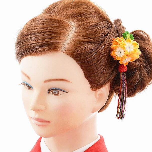 【着物 髪飾り】着物 髪飾り 花 和装用〔振袖 髪飾り 花〕振袖レンタルなどにおすすめの髪飾り 1cj0160 オレンジ/結婚式用髪飾り【入学式 卒業式 結婚式】