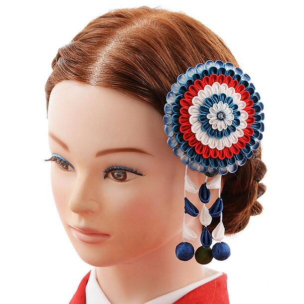 振袖 女袴 結婚式 和装 着物 髪飾り 1cj0167 青 白 赤 ブルー ホワイト 古典 レトロ モダン クラシック 個性的 かわいい ヘアアクセ