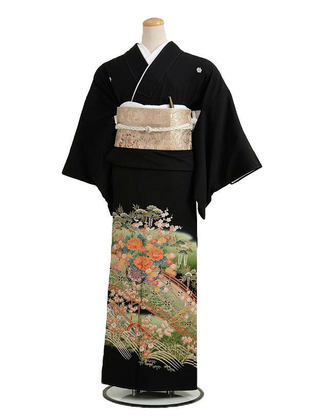 留袖 レンタル黒留袖 レンタル 4226橘に花車fy16REN07【レンタル】