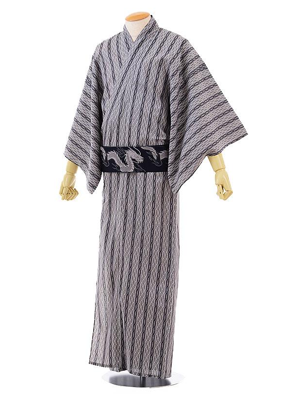 浴衣|浴衣レンタル|浴衣 セット|男性用浴衣レンタル 1DR0035【グレー 白変わりストライプ(LL)】 浴衣 メンズ|男性浴衣|浴衣セット|浴衣|往復送料無料