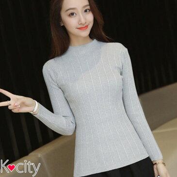 ハイネック タートルネック ニットソー カットソー ケーブル ニット トップス 長袖 無地 韓国 ファッション