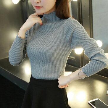 ハイネック タートルネック 長袖 カットソー トップス 無地 ニットソー 韓国 ファッション