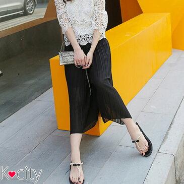 シフォン スカーチョ スカンツ ガウチョ ウエストゴム ガウチョパンツ ワイドパンツ フレア パンツ 7分丈 ボトムス 無地 韓国 ファッション