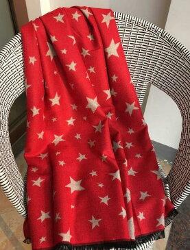 マフラー 星柄 両面 リバーシブル スター オシャレ 可愛い 大判 ストール 膝掛け ショール 暖かい 定番人気(レッド)