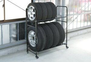 \タイムセール/【即納】2段式タイヤラックあす楽対応送料無料タイヤラック8本カバー付きキャスター付き8本タイヤ収納保管【D】
