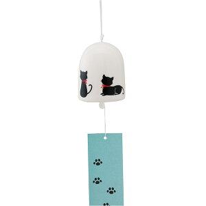 Campanas de viento Cerámica / Campanas de viento redondas (grandes) Silueta de gato negro / Interior de verano Brisa fresca Cool Biz