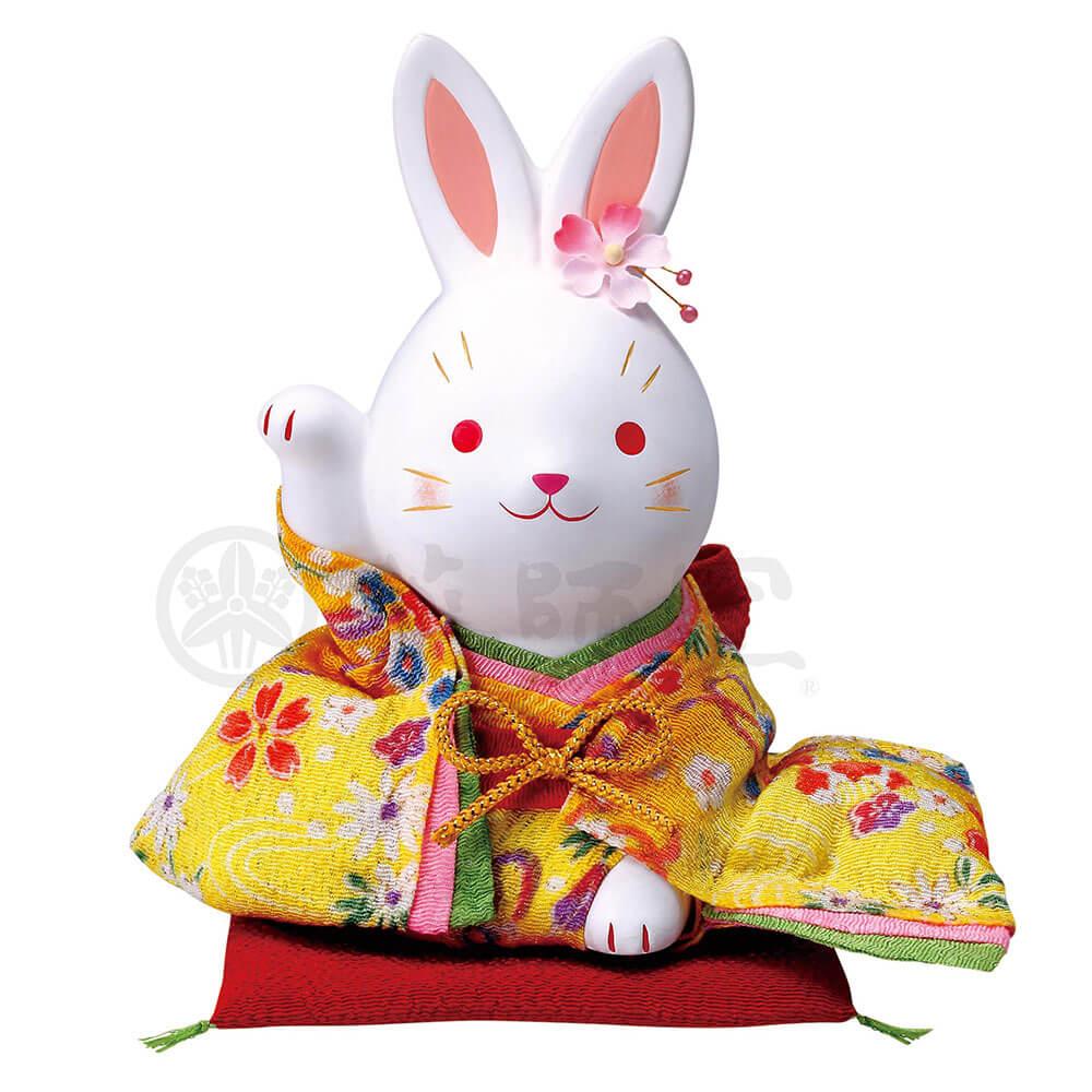 うさぎ 和風 置物 可愛い/ 錦彩ちりめん花うさぎ(右手上げ・大) /おもてなし 接客 開店祝い プレゼント 贈り物