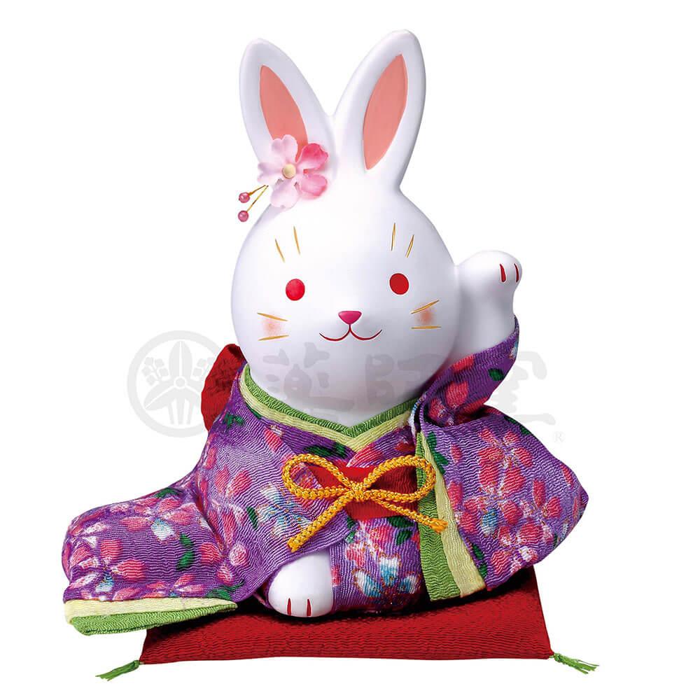 うさぎ 和風 置物 可愛い/ 錦彩ちりめん花うさぎ(左手上げ・大) /おもてなし 接客 開店祝い プレゼント 贈り物