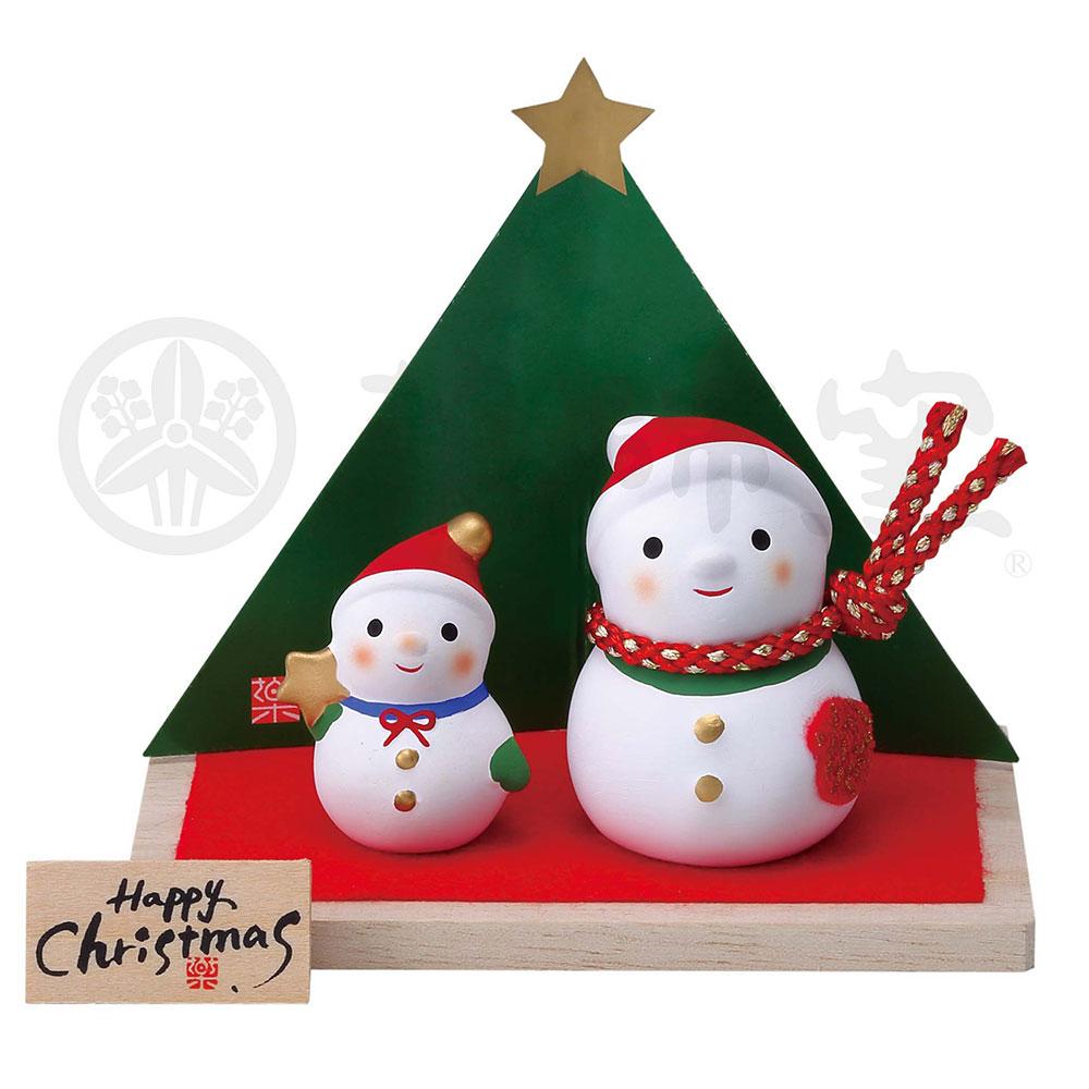 クリスマス 飾り インテリア/ 錦彩クリスマス飾り(スノーマン親子) /かわいい プレゼント 贈り物