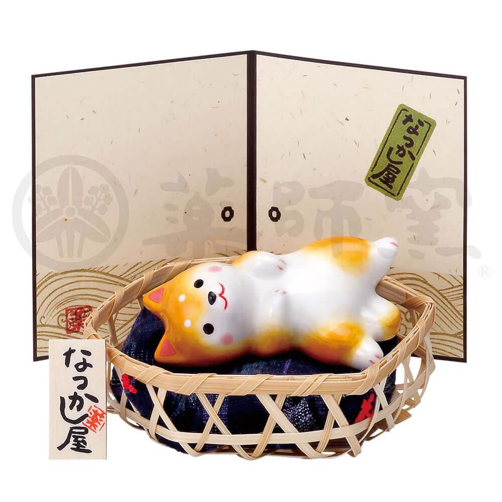 犬グッズ 可愛い 柴犬/ わんこ日和 柴犬(寝転び・竹籠付) /インテリア 置物 プレゼント 贈り物
