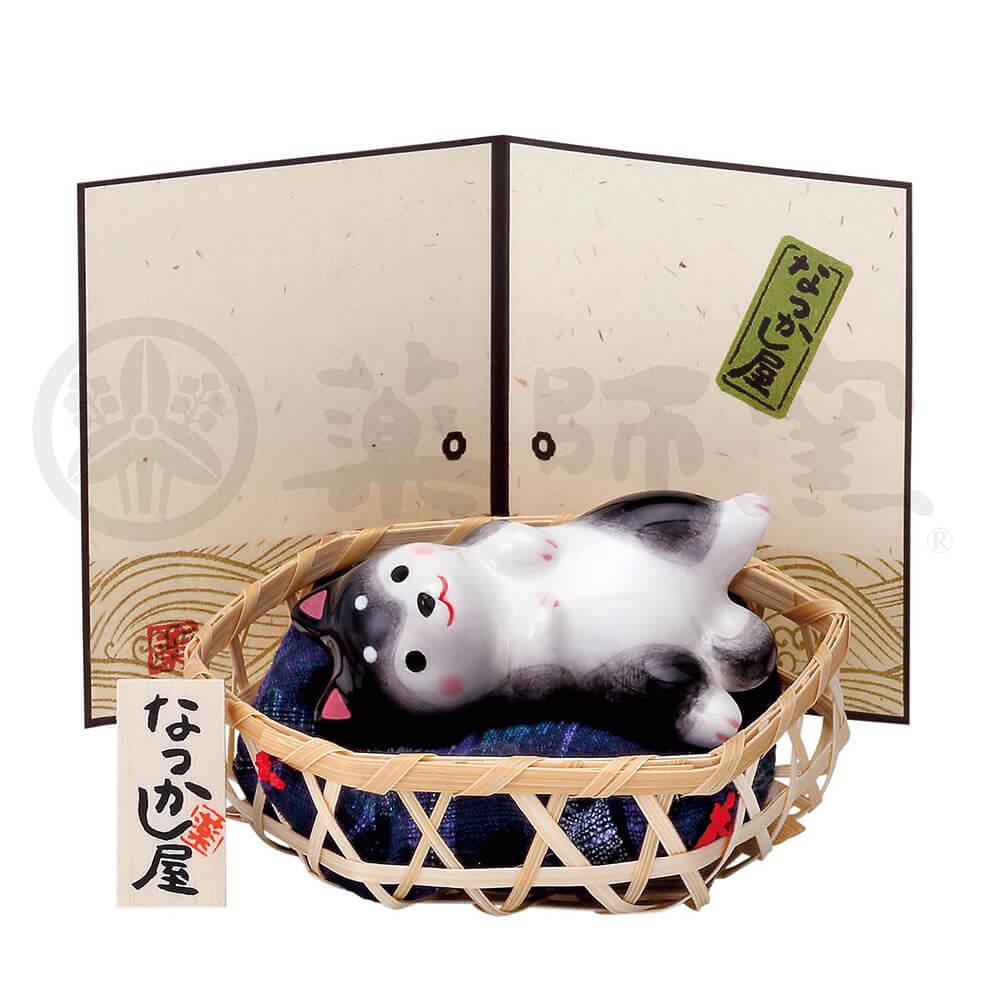 犬グッズ 可愛い 柴犬/ わんこ日和 黒柴(寝転び・竹籠付) /インテリア 置物 プレゼント 贈り物