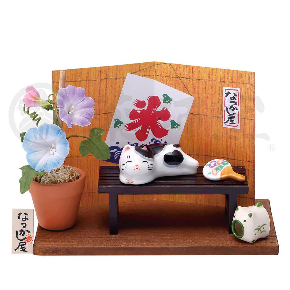 猫グッズ 可愛い 四季/ 猫町ねこ(縁台と朝顔) /インテリア 置物 プレゼント 贈り物