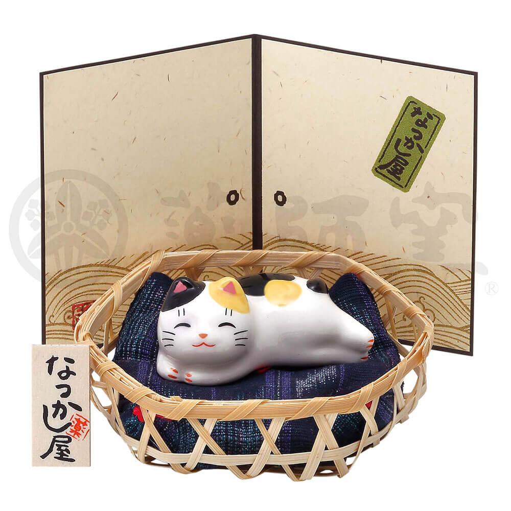 猫グッズ 可愛い 四季/ 猫町ねこ(まったり・竹籠付) /インテリア 置物 プレゼント 贈り物