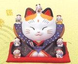 彩絵七福神福助招き猫
