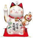 彩絵招福大開運招き猫(ちりめん首輪付・11.5号)(貯金箱)