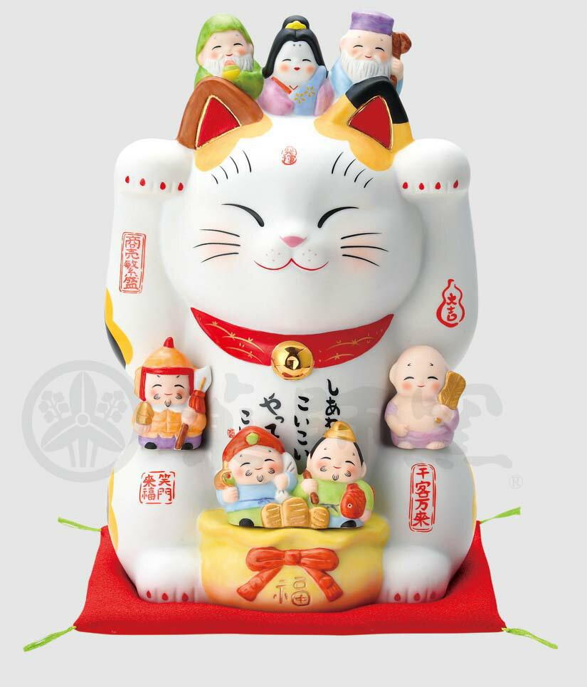 幸運 招福 縁起物 招き猫 彩絵七福神招き猫(8号)