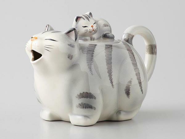 ラッピング無料 ギフト 贈り物 プレゼント/ 猫ポット グレー /敬老の日 新築祝い 引き出物 母の日 父の日