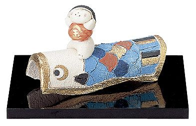 五月人形 コンパクト 陶器 小さい おとぎ話 金太郎/ 人形師の手造り置物 弥生窯作 鯉のぼり金太郎 /こどもの日 端午の節句 初夏 お祝い 贈り物 プレゼント