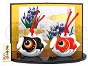 五月人形 コンパクト 錦彩出世鯉のぼりセット(土鈴・赤黒)