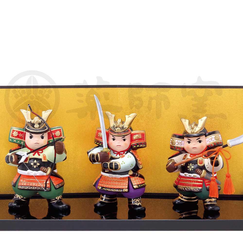 五月人形 コンパクト 陶器 小さい 大将 武将/ 錦彩三武者揃 /こどもの日 端午の節句 初夏 お祝い 贈り物 プレゼント