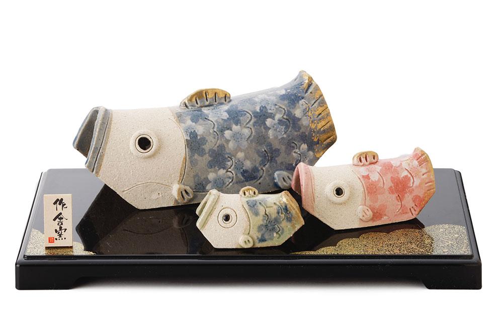 五月人形 コンパクト 陶器 小さい 鯉のぼり/ 人形師の手造り 豊大窯作 たたら親子鯉のぼり /こどもの日 端午の節句 初夏 お祝い 贈り物 プレゼント