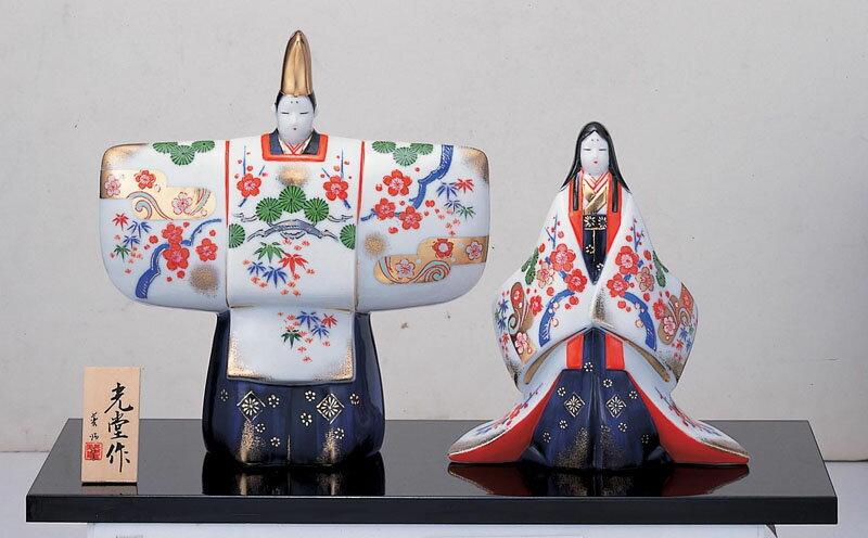 雛人形 コンパクト 陶器 小さい 可愛い ひな人形/ 染錦立雛(金襴松竹梅) /ミニチュア 初節句 お雛様 おひな様 雛飾り