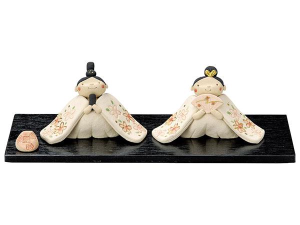 雛人形 コンパクト 陶器 小さい 可愛い ひな人形/ 奈の花窯 桜ふぶき古陶雛 /ミニチュア 初節句 お雛様 おひな様 雛飾り