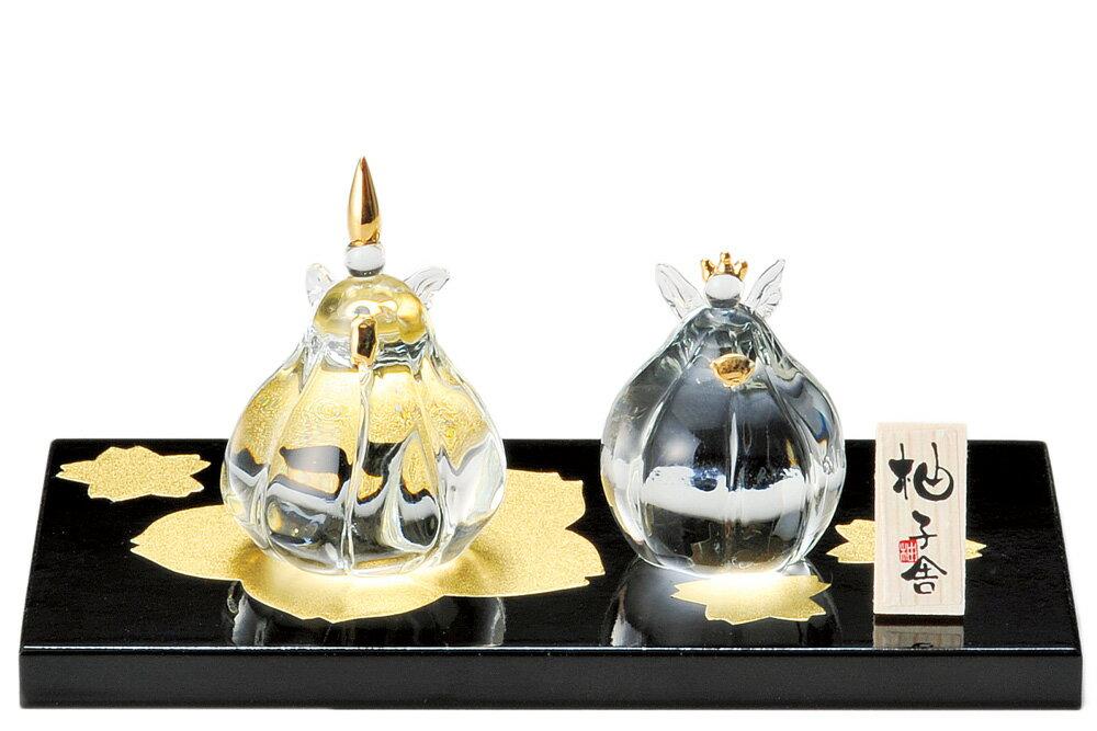 雛人形 コンパクト ガラス 小さい 可愛い ひな人形/ 人形師の手造り雛人形 柚子舎 金彩ガラス雛 /ミニチュア 初節句 お雛様 おひな様 雛飾り
