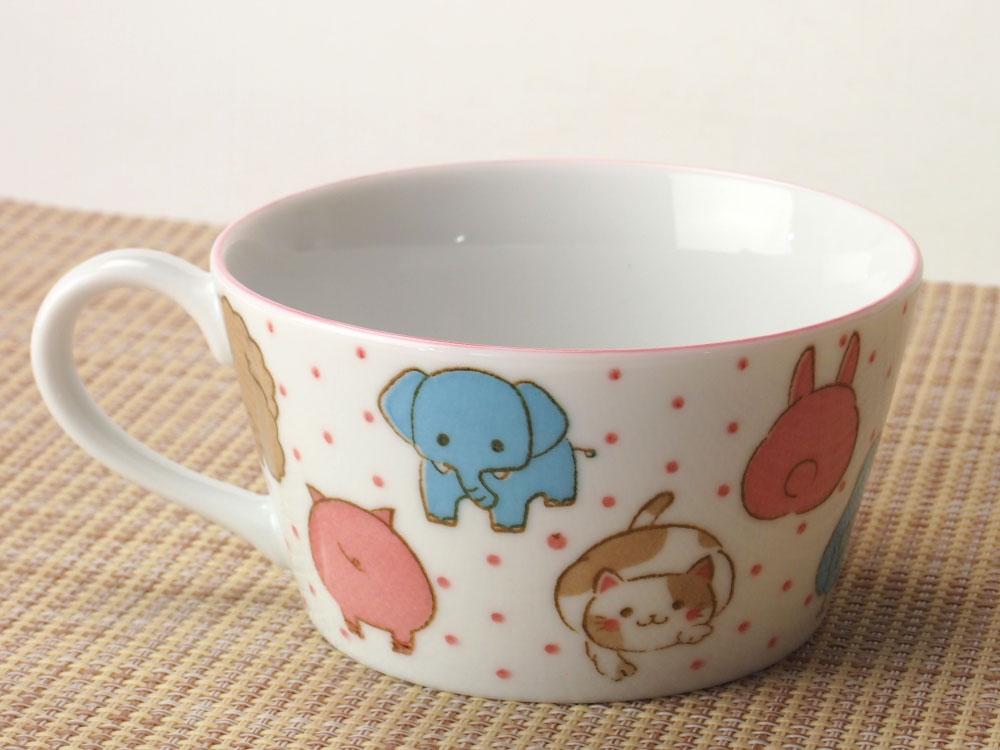 コーヒー ティー カップ/ 子ども用 女の子 アニマルフェイススープカップ /業務用 家庭用 カフェ かわいい子ども 女の子 動物