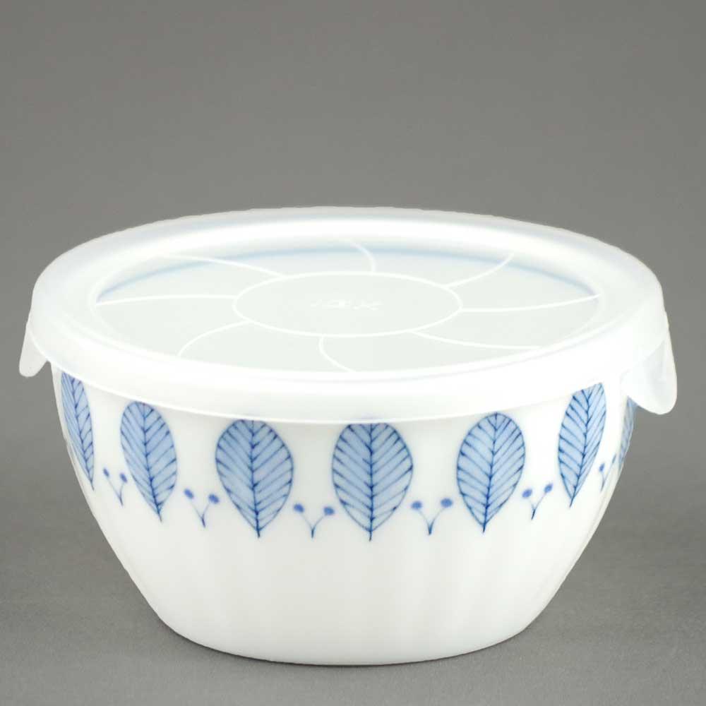 軽量 薄手 白磁 中鉢/ ノンラップ 中鉢 ハーブミント 蓋付 直径13.3cm /食洗機OK 電子レンジOK 家庭用 業務用 ナチュラル食器