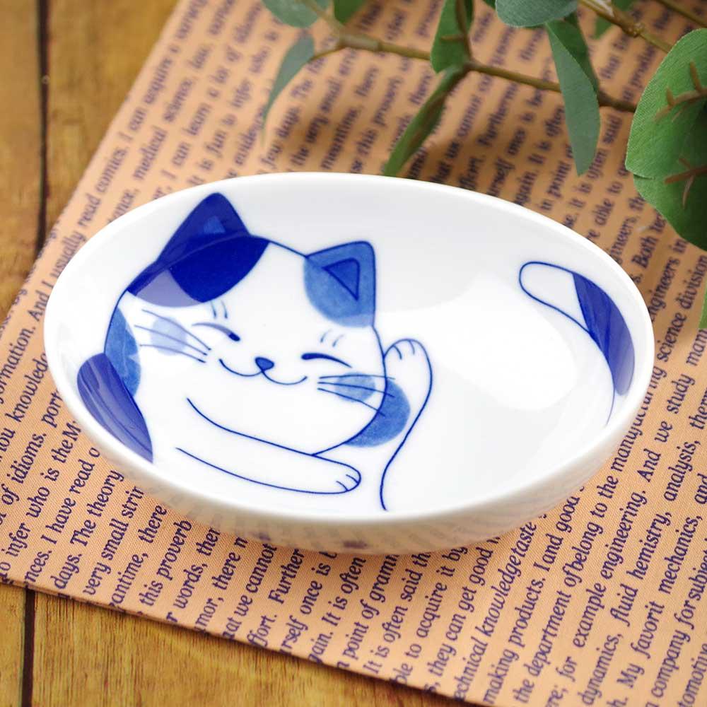 軽量 薄手 13cm 小鉢/ ねこちぐらミケ 4.0小鉢(楕円) /猫グッズ ネコ 可愛い 家庭用 和み 癒やし