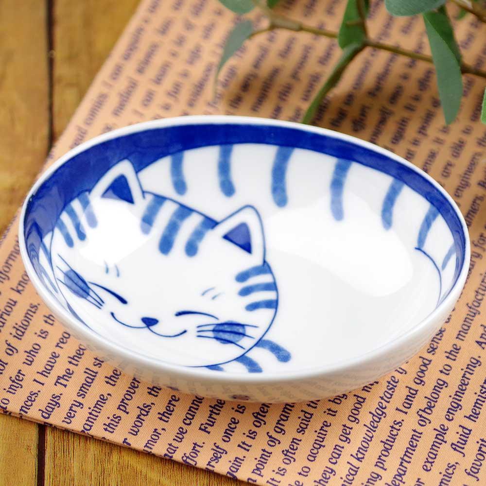 軽量 薄手 13cm 小鉢/ ねこちぐらトラ 4.0小鉢(楕円) /猫グッズ ネコ 可愛い 家庭用 和み 癒やし