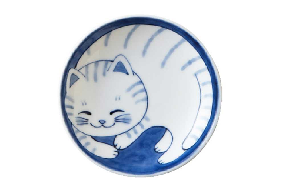 軽量 薄手 小皿 10cm/ ねこちぐら 3.0皿 トラ /猫 ネコ 可愛い 家庭用 和み 癒やし