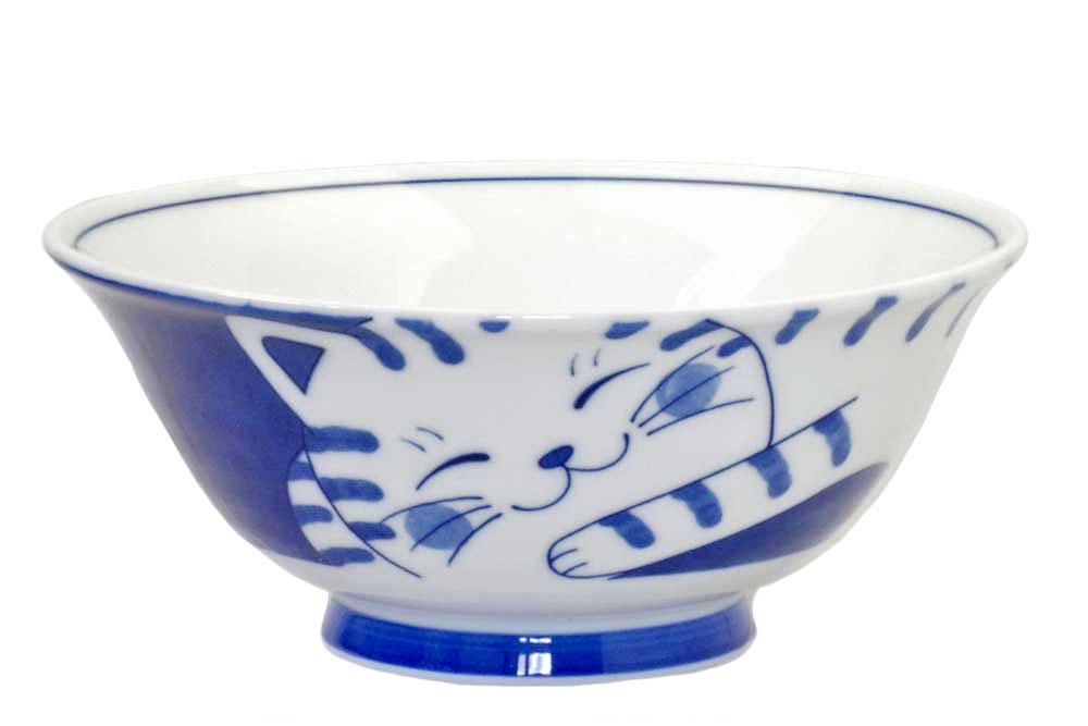 軽量 薄手 中華 どんぶり ラーメン 丼/ ねこちぐらトラ 19cm麺鉢 /猫 ネコ 可愛い 家庭用 和み 癒やし