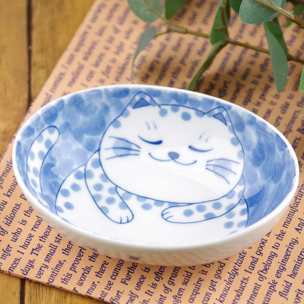 軽量 薄手 13cm 小鉢/ ねこちぐらブチ 4.0小鉢(楕円) /猫グッズ ネコ 可愛い 家庭用 和み 癒やし