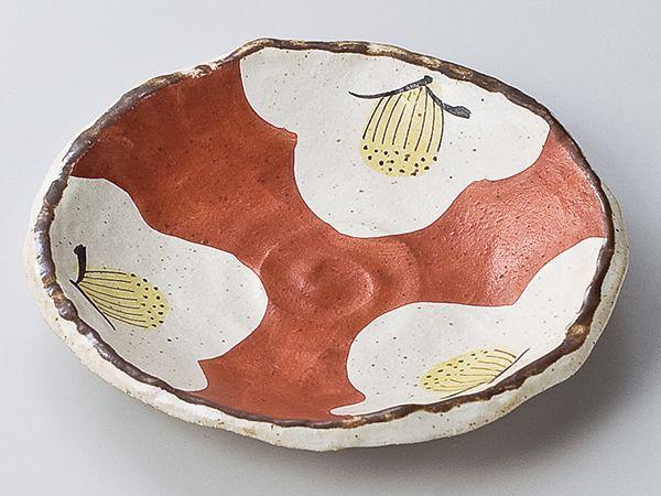和食器 和皿 小皿 大皿 中皿/ 赤濃椿 渦型中皿 /おしゃれ 陶器 業務用 家庭用 Japanese Plate