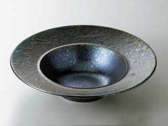 [西式餐具圓盤子湯盤]過分雕琢的式樣黒彩26.5cm深的湯