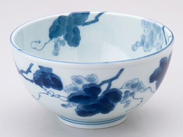 【陶磁器 どんぶり】 かる〜い軽量丼(大)藍染ぶどう