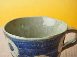 呉須丸紋土物コーヒーカップ&ソーサー