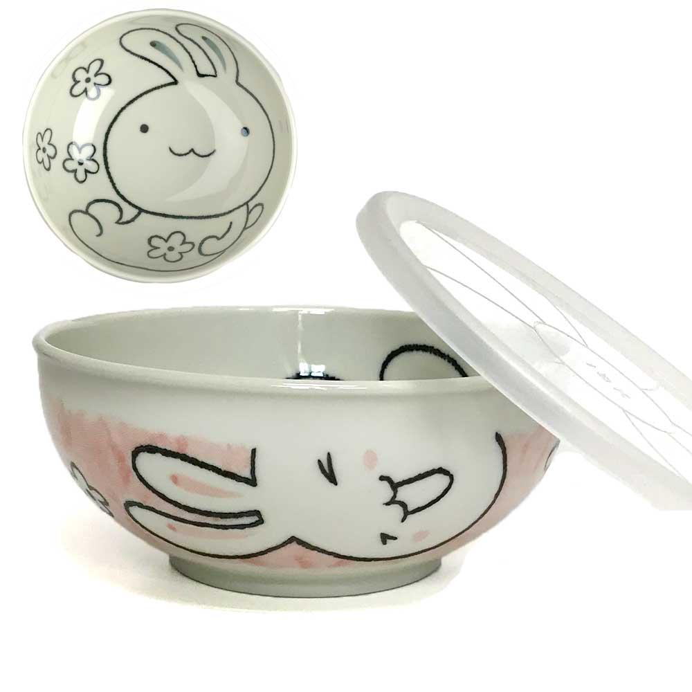 レンジパック 食器 蓋付き フタ付き 中 鉢 ボウル/ ノンラップ中鉢 ほのぼのピンクうさぎ /保存 鉢 うつわ 漬物 作り置き 常備菜 日本製 和食器 かわいい