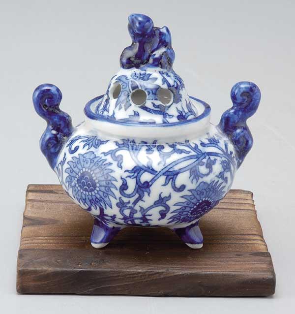 香炉 陶器/ ルリ獅子 香炉(小) /アロマ プレゼント 贈り物 箱入り